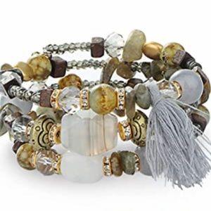 🆕 Wire-Wrapped Beaded Bracelet (Gray)